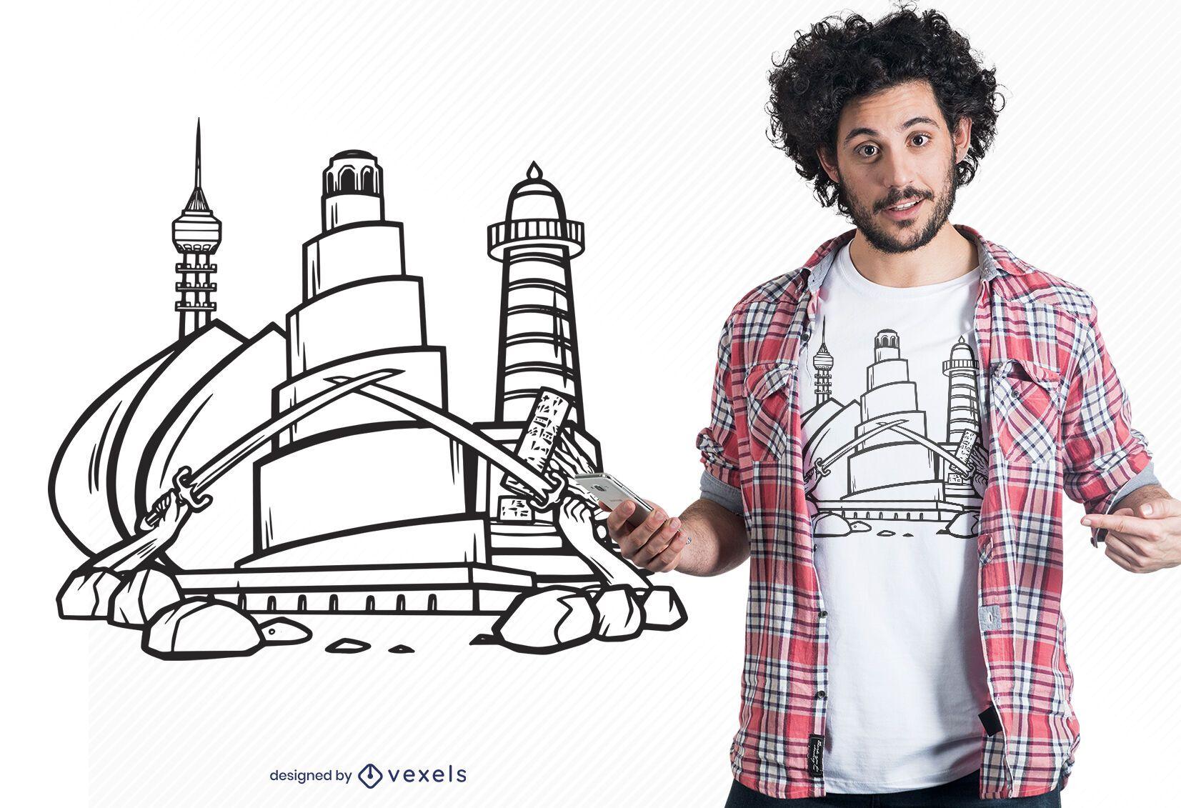 Iraq landmarks t-shirt design
