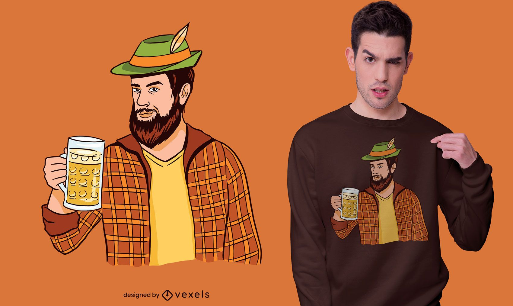 Hipster man with beer t-shirt design