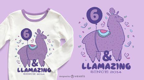 Design de t-shirt de aniversário Llamazing