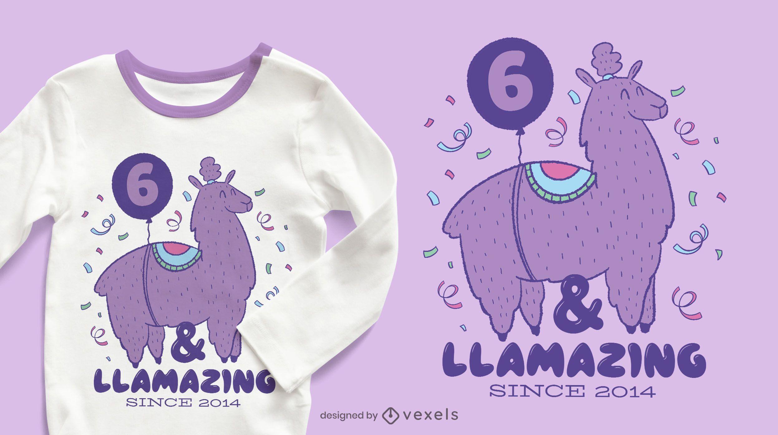 Llamazing birthday t-shirt design