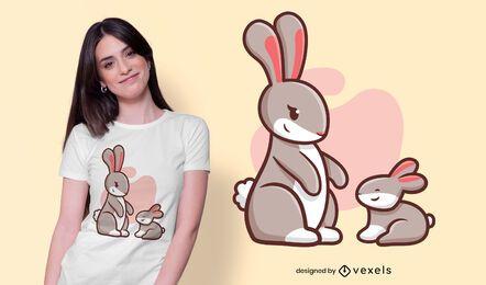 Design de camisetas para a família do coelho