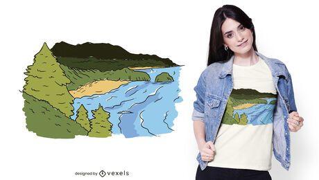 Diseño de camiseta de la costa del océano