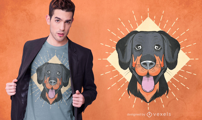 Design engraçado de camiseta com cara de cachorro