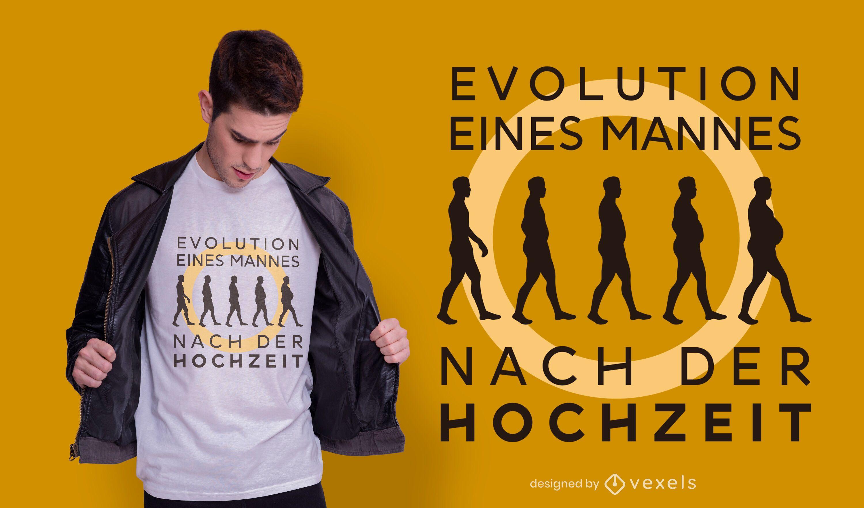 Evoluci?n despu?s del dise?o de la camiseta del matrimonio.