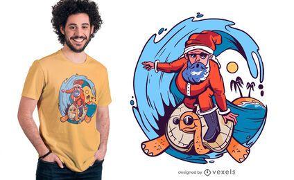 Diseño de camiseta de surf de santa