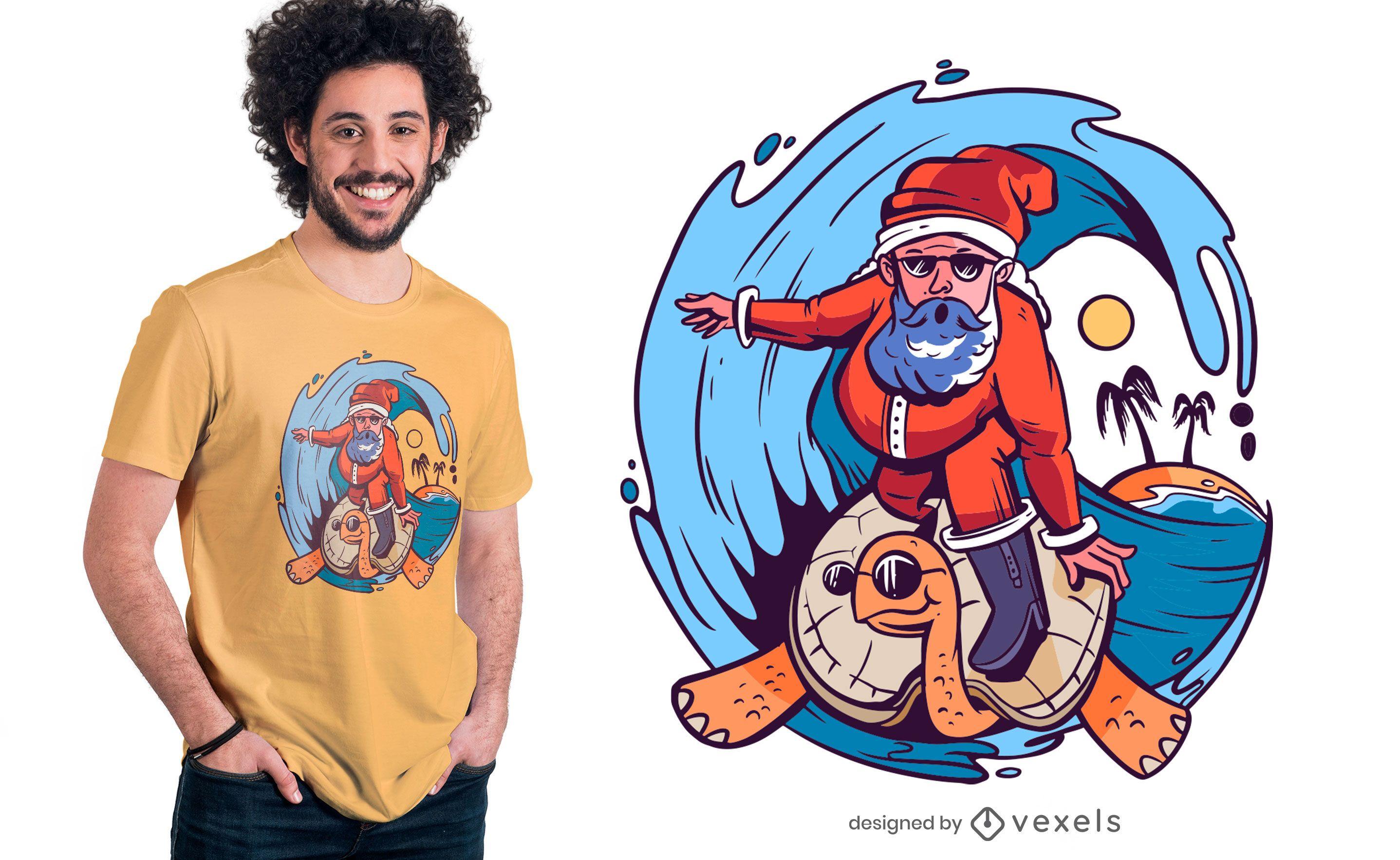 Santa surfing t-shirt design