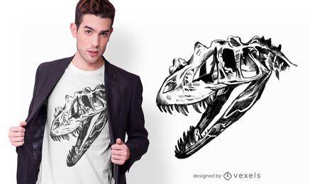 Camiseta desenhada à mão T-rex