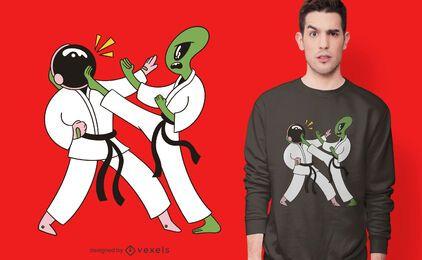 Diseño de camiseta de karate espacial.