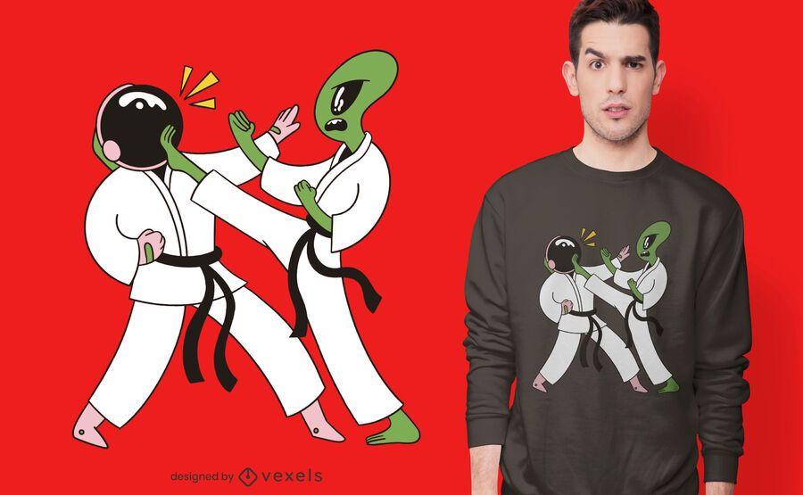 Space karate t-shirt design