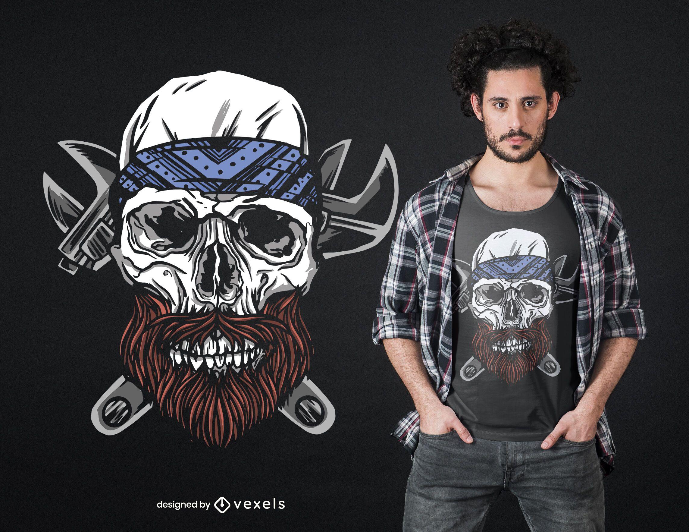 Diseño de camiseta de calavera con barba