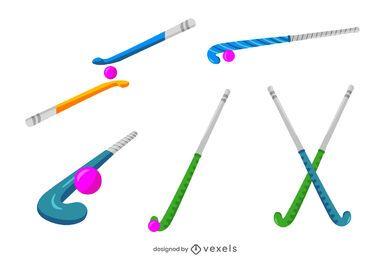 Paquete de palos de colores de hockey sobre césped