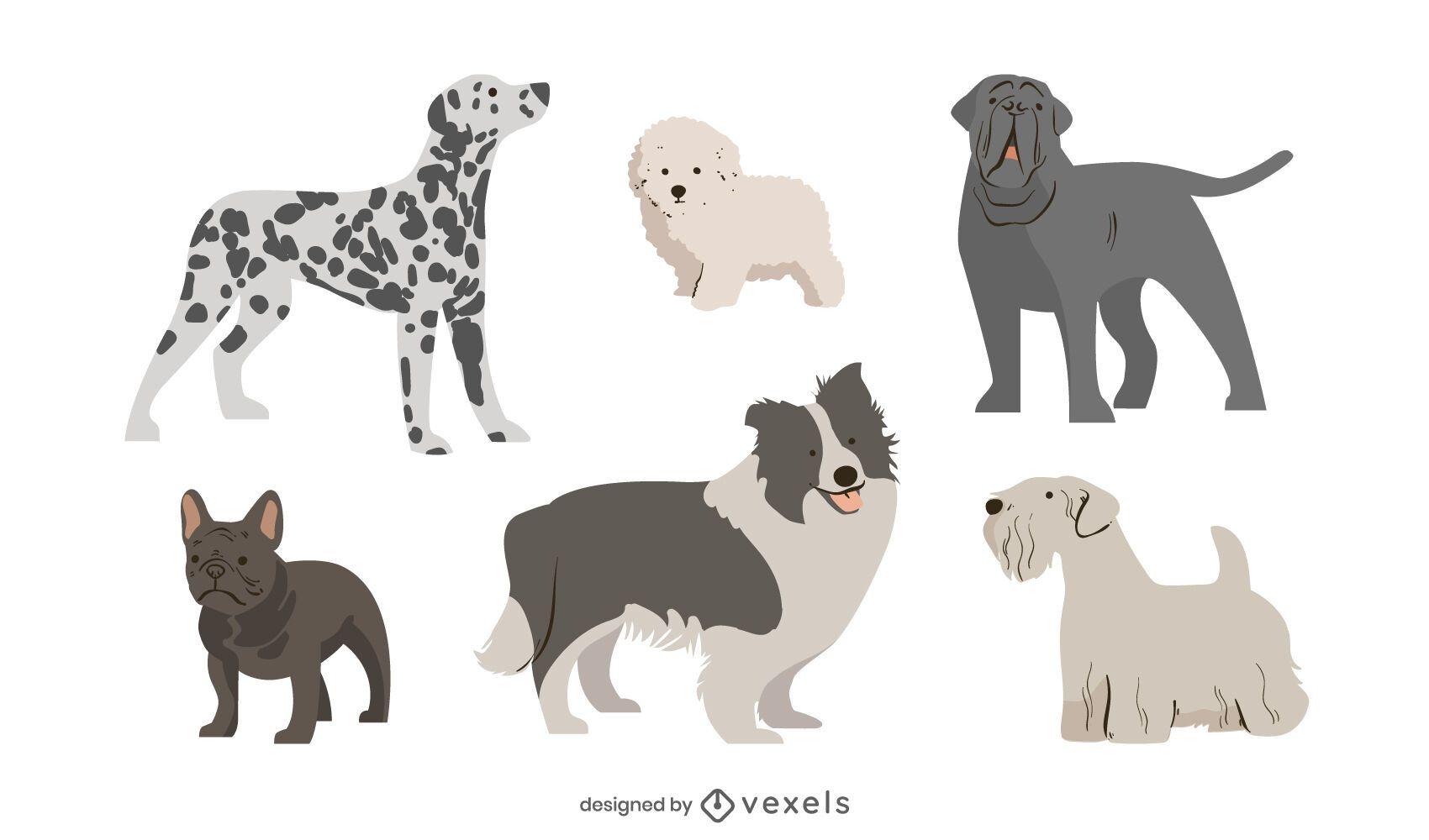 Cute dog breed set
