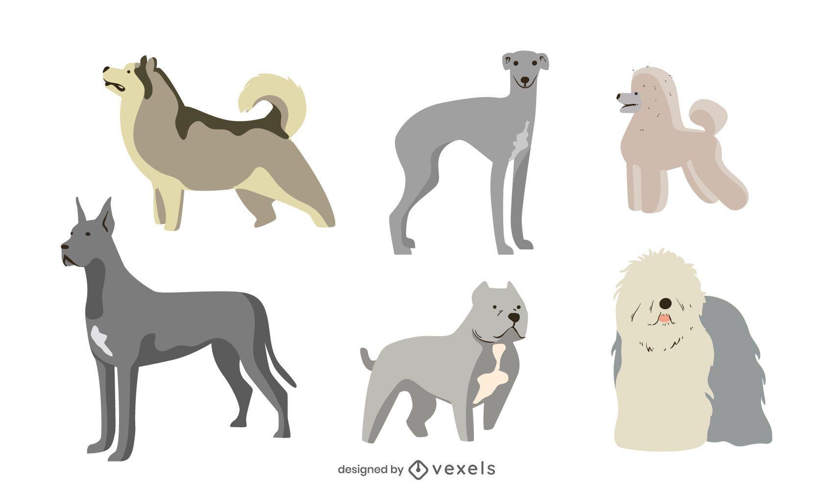 Cute dog breeds flat set