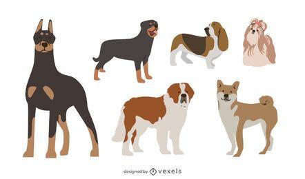 Paquete de diseño plano de raza de perro