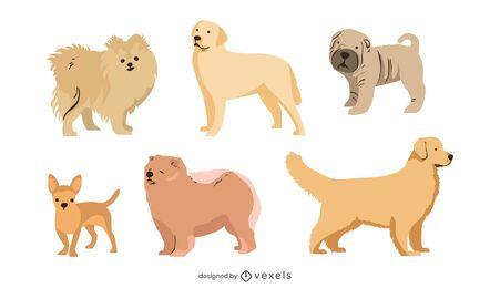 Conjunto de raza de perro de estilo plano