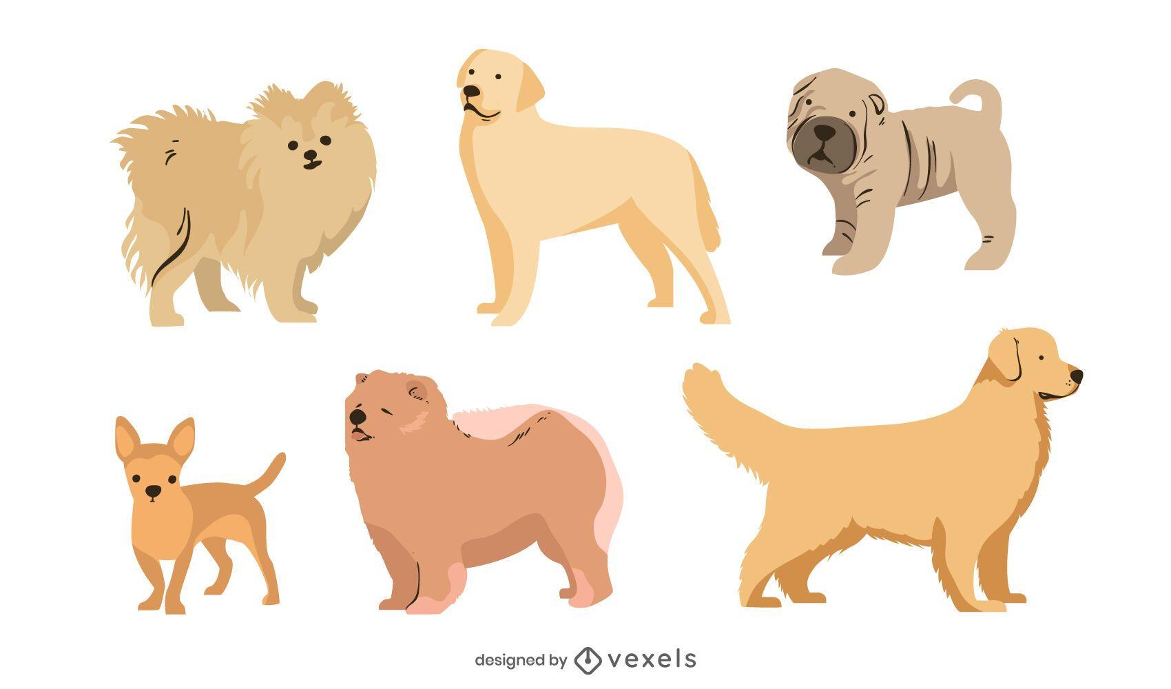Flat Style Dog Breed Set