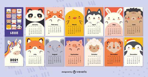 Design do calendário Kawaii Animals 2021