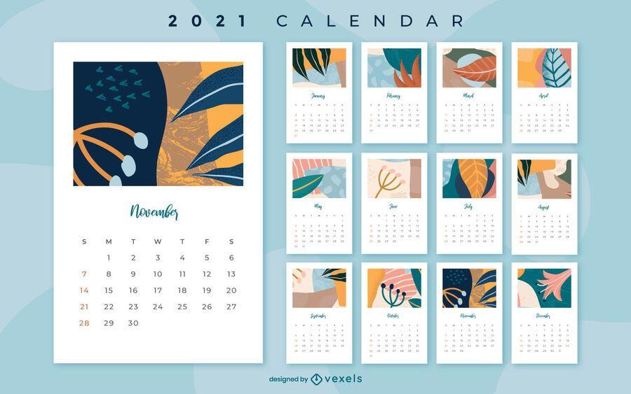 Diseño floral abstracto del calendario 2021