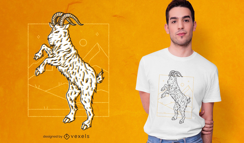 Goat on hind legs t-shirt design