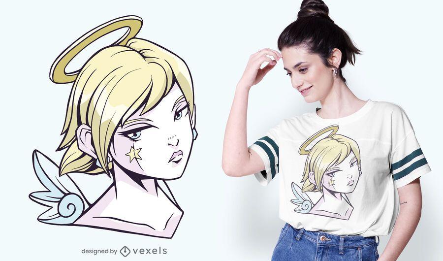 Anime angel girl t-shirt design