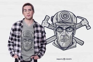 Diseño de camiseta de minero masculino