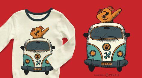 Design de t-shirt de carrinha cãozinho