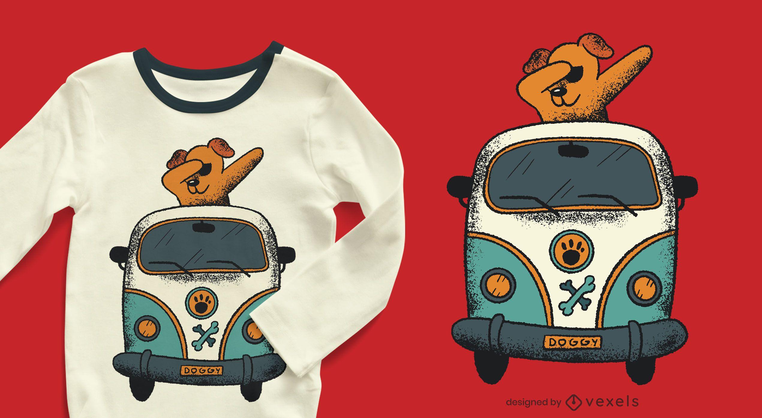 Diseño de camiseta dabbing dog van