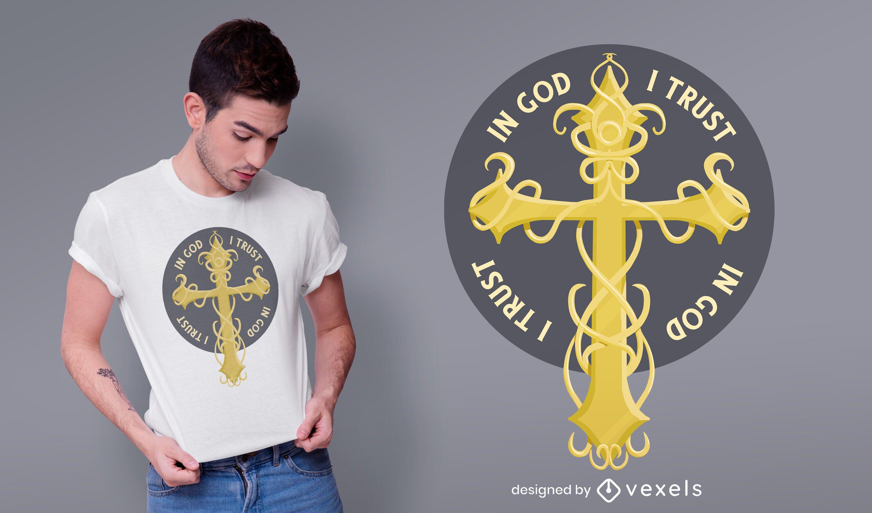 Gold cross t-shirt design