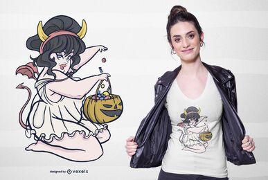 Pin up diseño de camiseta de niña de halloween