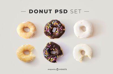 Elementos donut psd para maquetes