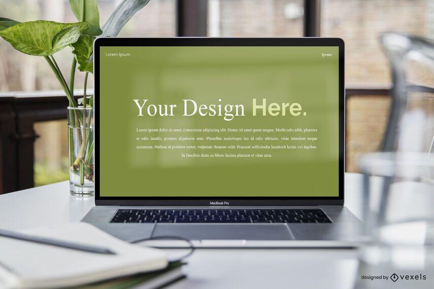 Laptop restaurant mockup design