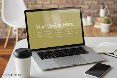 Laptop coffee shop mockup composition