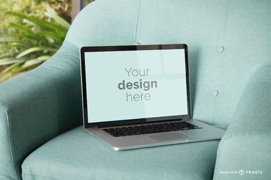 Laptop chair mockup design