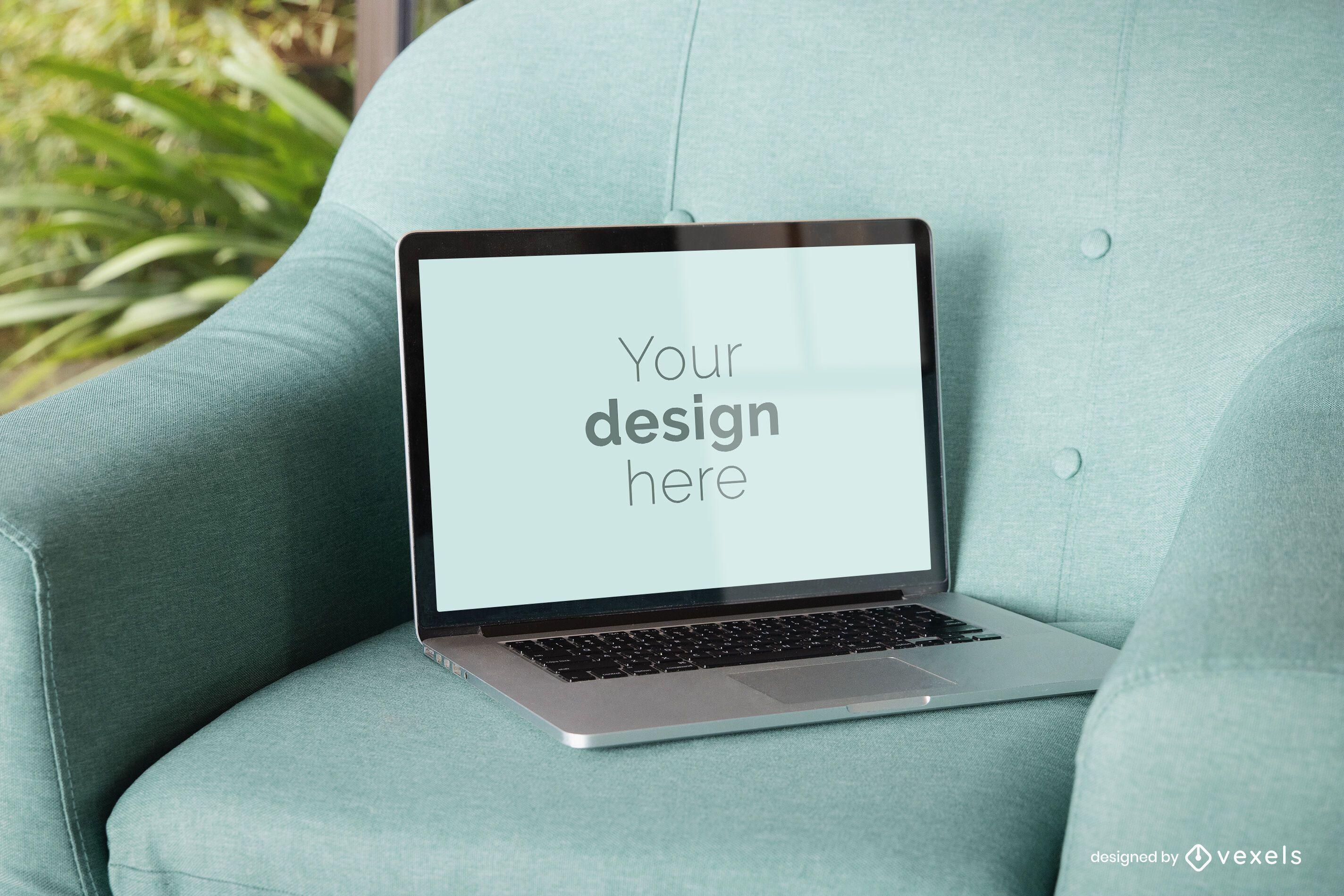 Laptop chair mockup design