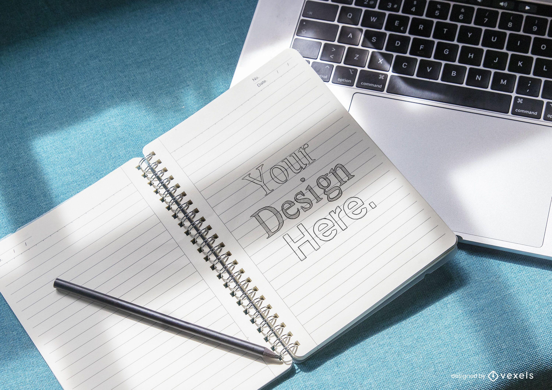 Diseño de maqueta de portátil abierto