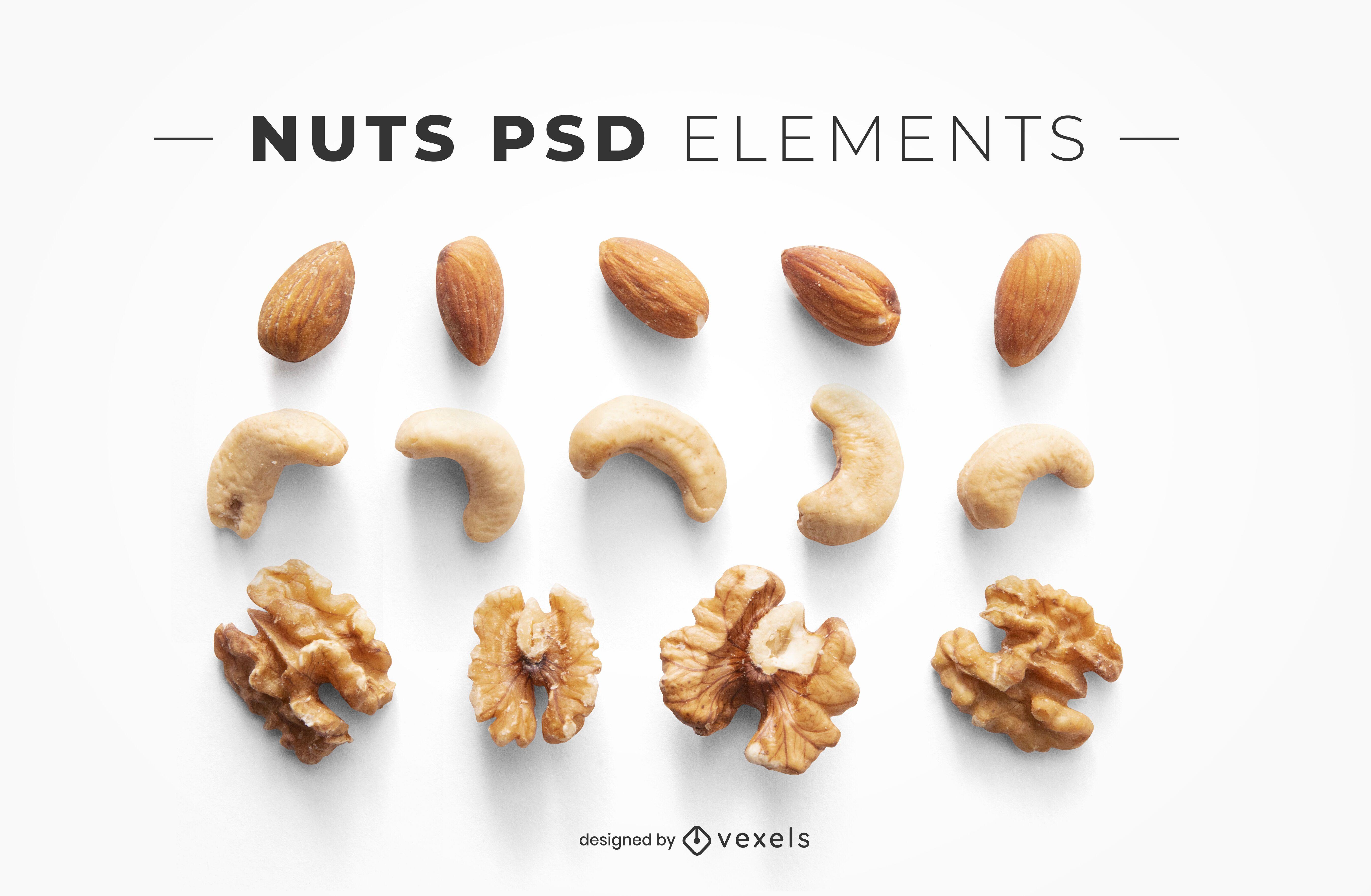 Elementos psd de nueces para maquetas