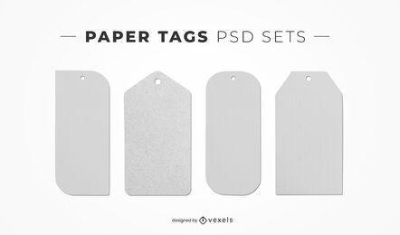 Etiquetas de papel elementos psd para maquetas.