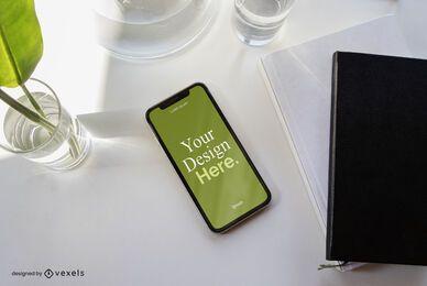 Composição de maquete de negócios para iPhone