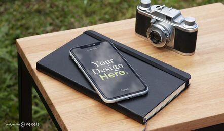 Composición de maqueta de cámara de iphone