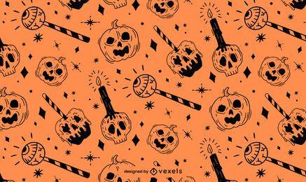 Design de padrão laranja preto de Halloween
