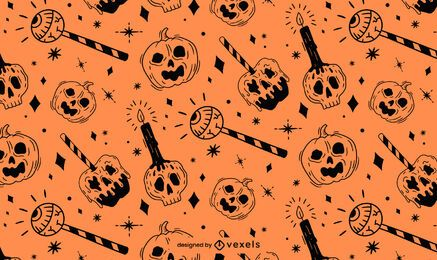 Orange Black Halloween Pattern Design