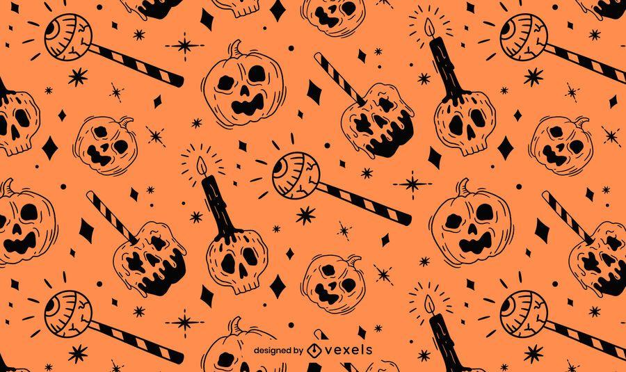 Diseño de patrón de Halloween negro naranja