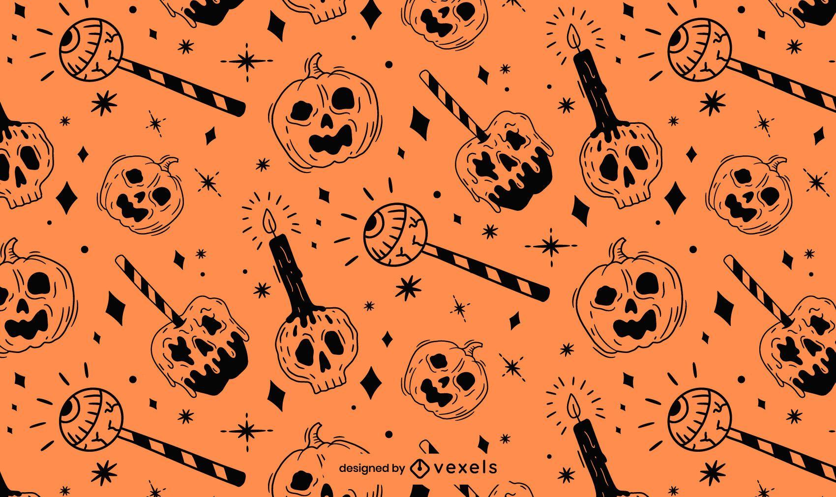 Orange Black Halloween Pattern Design