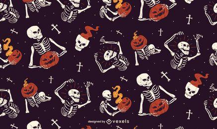 Diseño de patrón de esqueleto de Halloween