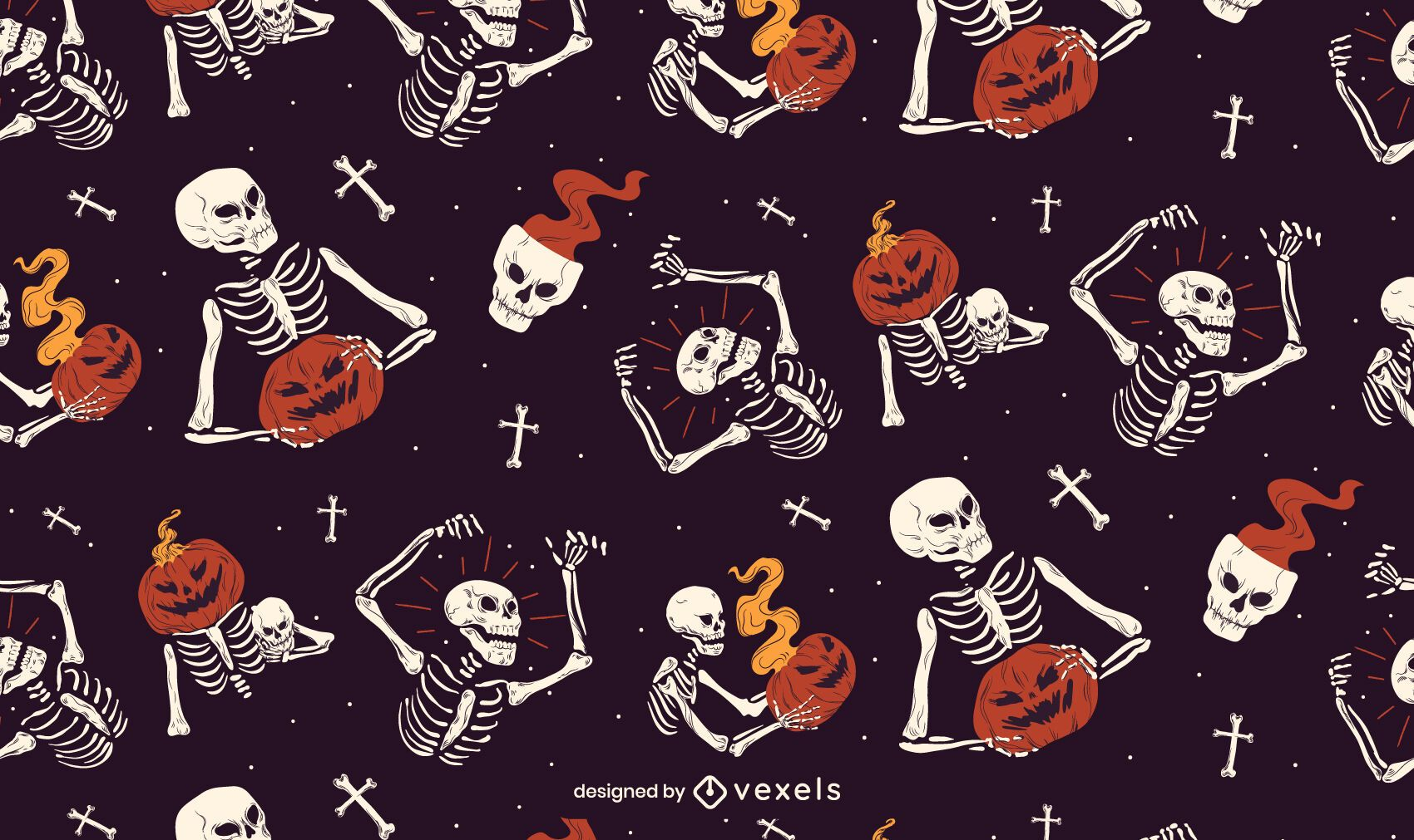 Skeleton Halloween Pattern Design
