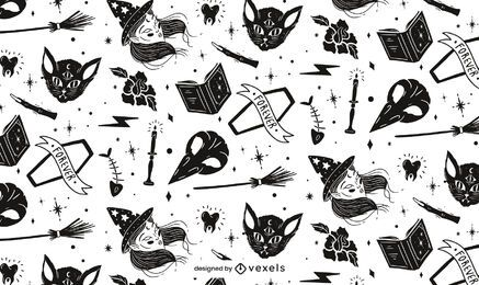 Black and White Halloween Pattern Design