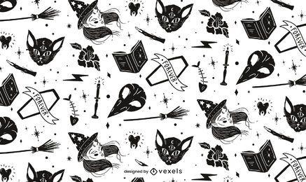 Diseño de patrón de halloween de elementos de bruja