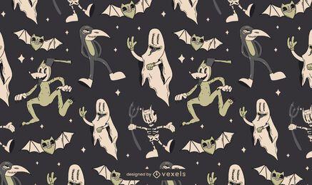 Diseño de patrón de criaturas vintage de Halloween