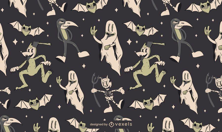 Halloween Vintage Kreaturen Muster Design