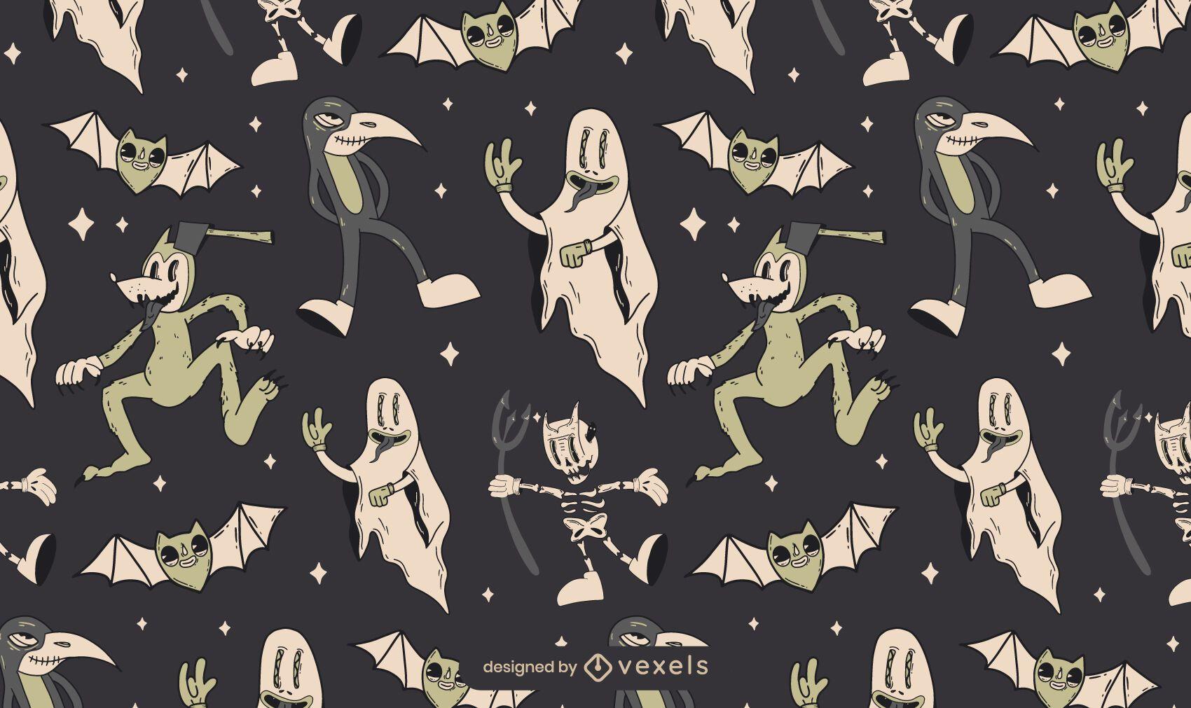 Diseño de patrón de Halloween Spooky Vintage